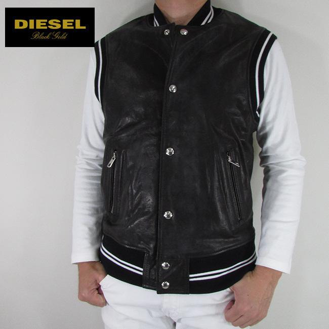 ディーゼル ブラックゴールド DIESEL BLACK GOLD メンズ ベスト レザーベストLAVERSITY / 900 / ブラック 黒 サイズ:48