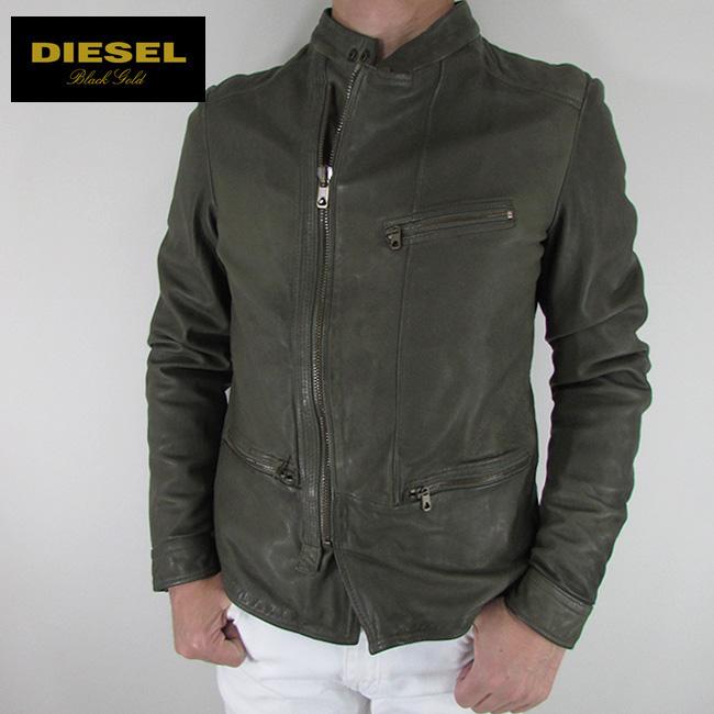 ディーゼル ブラックゴールド DIESEL BLACK GOLD ジャケット メンズ レザージャケット 本革 レザー LUSTY / 5AF / カーキ サイズ:48