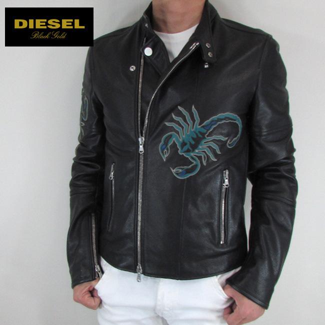 ディーゼル ブラックゴールド DIESEL BLACK GOLD ジャケット メンズ レザージャケット 本革 レザー LAIKE / 900 / ブラック サイズ:48