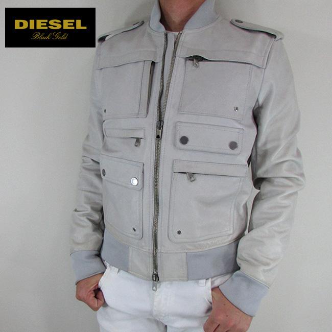 ディーゼル ブラックゴールド DIESEL BLACK GOLD ジャケット メンズ レザージャケット 本革 レザー LAVILLO / 97Y / ライトグレー サイズ:48