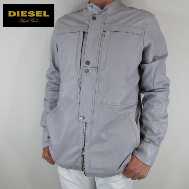 ディーゼル ブラックゴールド DIESEL BLACK GOLD ジャケット メンズ レザージャケット 本革 レザー LISHIRT / 97Y / ライトグレー サイズ:48