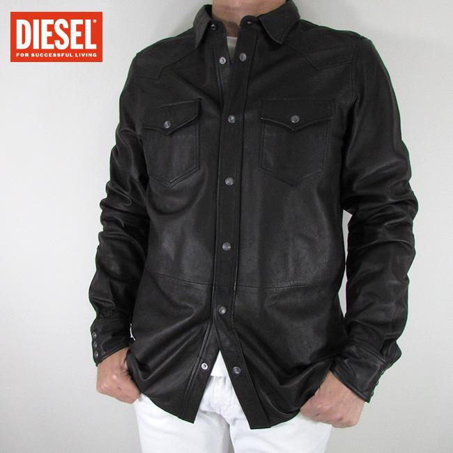 ディーゼル DIESEL シャツ ジャケット メンズ レザージャケット 本革 レザー L-SONORA / 900 / ブラック サイズ:L