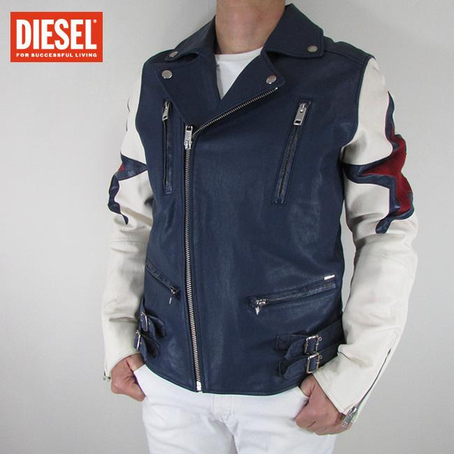 ディーゼル DIESEL ジャケット メンズ レザージャケット 本革 レザー L-JASPER-ED / 8AT / ブルー サイズ:L