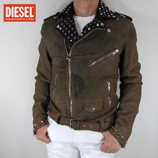 ディーゼル DIESEL ジャケット メンズ レザージャケット 本革 レザー L-VLISSES / 71I / ブラウン サイズ:L