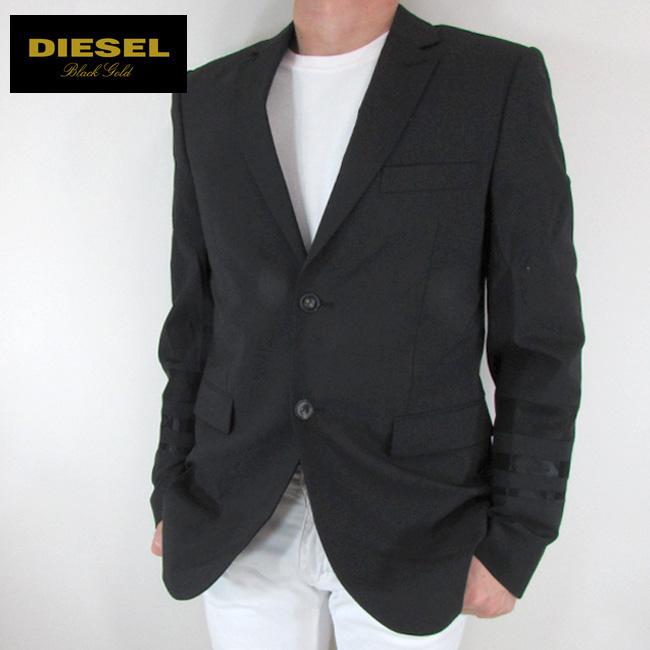 ディーゼル ブラックゴールド DIESEL BLACK GOLD テーラードジャケット メンズ ジャケット アウター JUNONE-STRIPE / 900 / ブラック サイズ:48