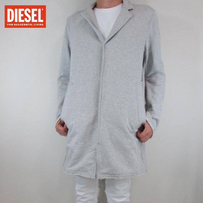 ディーゼル DIESEL メンズ コート テーラード スウェット ロングジャケット J-ORDE / 912 / ライトグレー サイズ:L