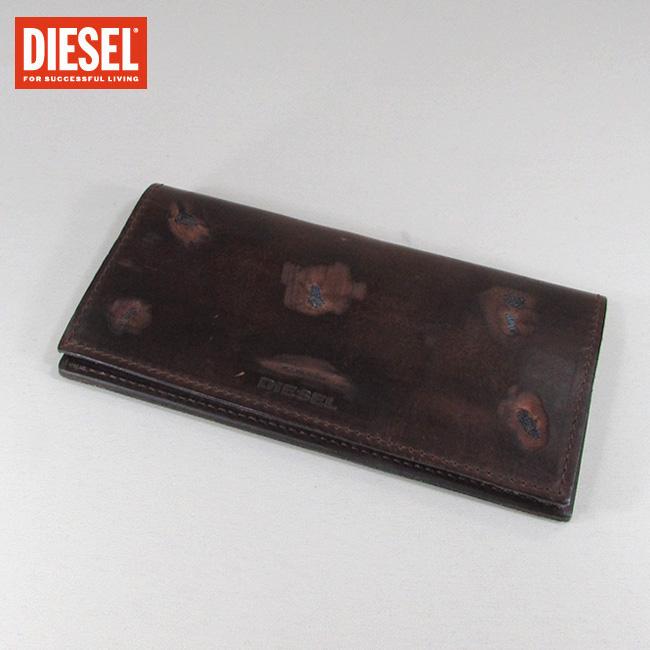 ディーゼル DIESEL 長財布 2つ折り長財布 小銭入れ付 財布 メンズ 本革 レザー X03807 PS978 / H6081 / ブラウン