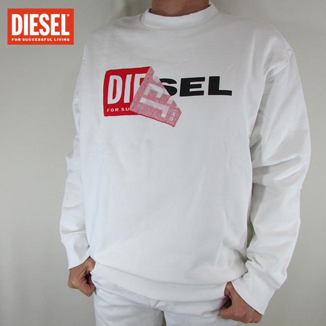 ディーゼル DIESEL メンズ プルオーバー スウェット トレーナー S-SAMY FELPA / 100 / ホワイト サイズ:L~XXL
