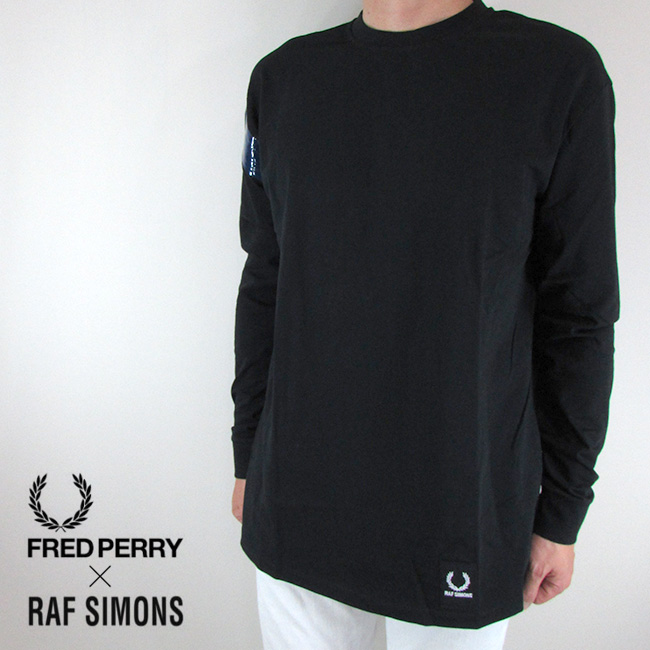 フレッドペリー ラフシモンズ FRED PERRY×RAF SIMONS Tシャツ 長袖 メンズ カットソー SM4105 / 102 / ブラック サイズ:36~42