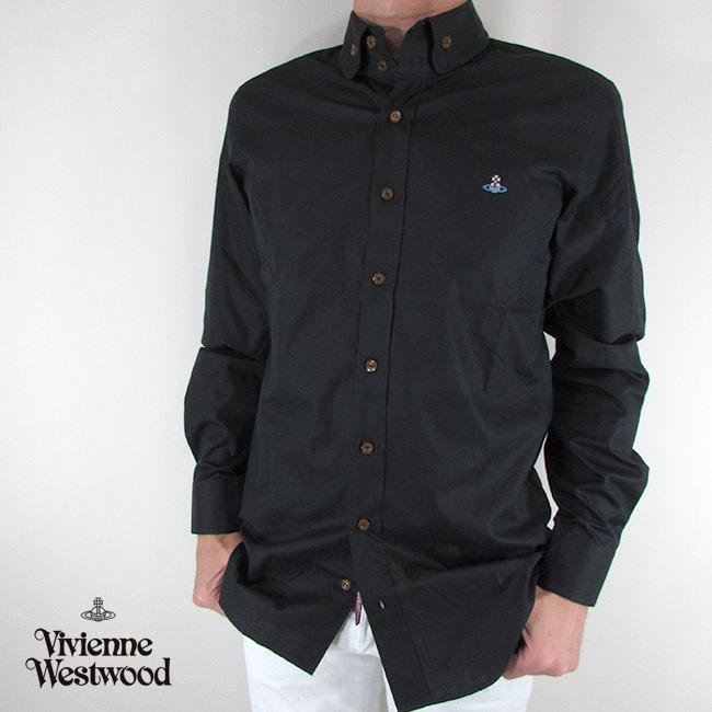 ヴィヴィアンウエストウッド vivienne westwood シャツ メンズ トップス 長袖 S25DL0432 / 900 / ブラック サイズ:44/46/48