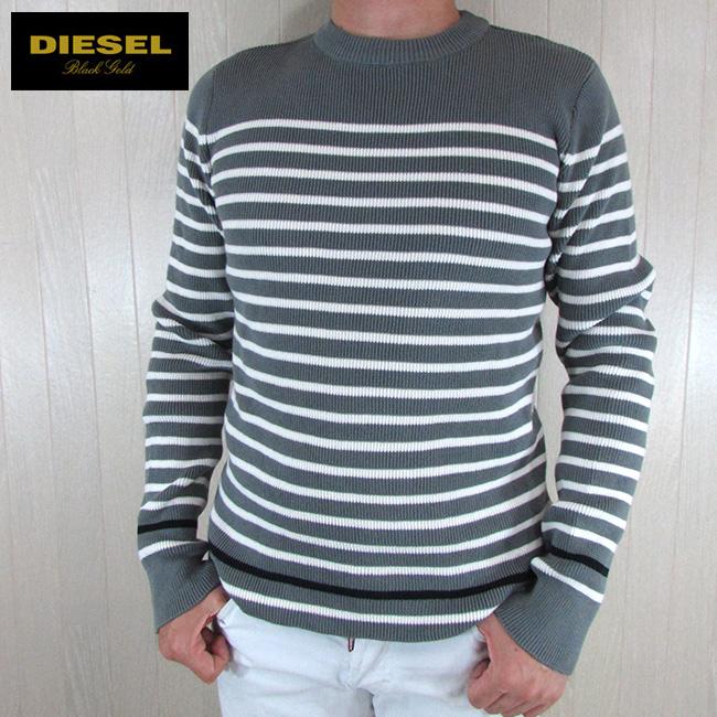 ディーゼル ブラックゴールド DIESEL BLACK GOLD メンズ ニット セーター トップス 丸首 クルーネック KASATY / 9AM / グレー 灰 サイズ:L/XXL