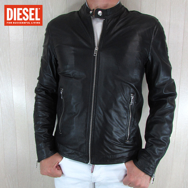 ディーゼル DIESEL ジャケット メンズ レザージャケット 本革 レザー D-ELOV / 900 / ブラック 黒 サイズ:M