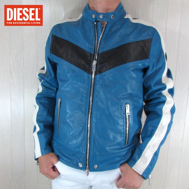 ディーゼル DIESEL ジャケット メンズ レザージャケット 本革 レザー L-REED / 88H / ブルー 青 サイズ:L