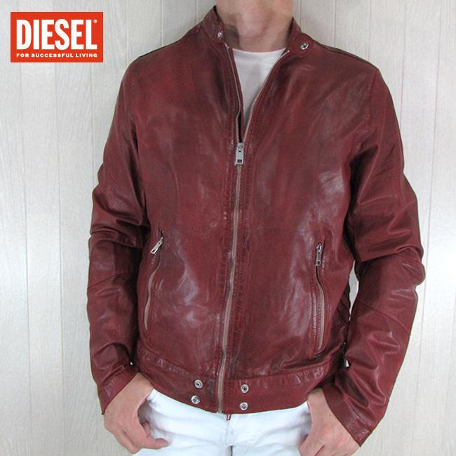 ディーゼル DIESEL ジャケット メンズ レザージャケット 本革 レザー L-ALL-ROW-2 / 41U / レッド 赤 サイズ:L
