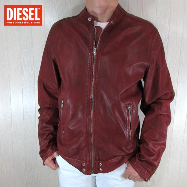 ディーゼル DIESEL ジャケット メンズ レザージャケット 本革 レザー L-ALL-ROW-2 / 41U / レッド 赤 サイズ:XL