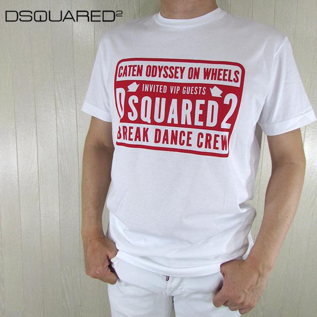 ディースクエアード DSQUARED2 メンズ Tシャツ 半袖 丸首 カットソー S74GD0423 / 100 / ホワイト 白 サイズ:M/L/XL