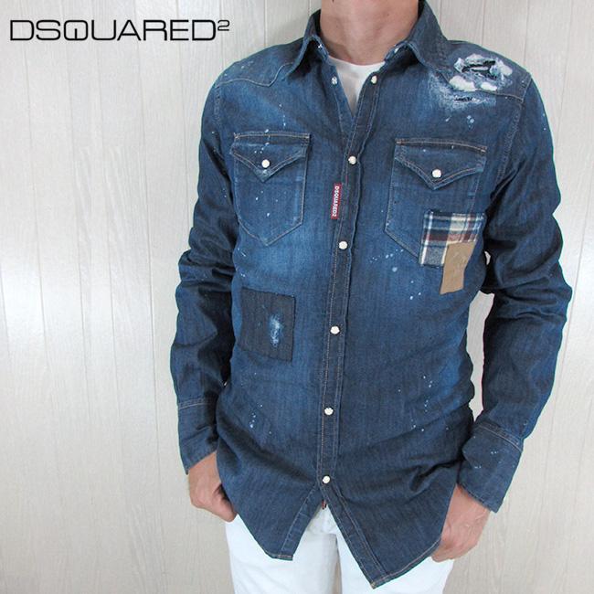 ディースクエアード DSQUARED2 シャツ デニムシャツ メンズ トップス デニム S74DM0159 /470/ブルー 青 サイズ:48
