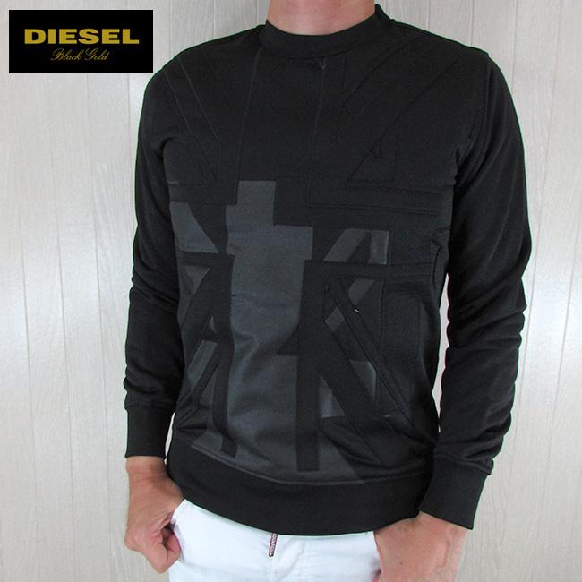 ディーゼル ブラックゴールド DIESEL BLACK GOLD メンズ プルオーバー スウェット トレーナー SONCIUKA-FLAGDESTROY / 900 / ブラック 黒 サイズ:S