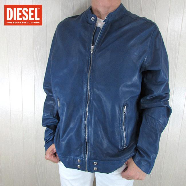 ディーゼル DIESEL ジャケット メンズ レザージャケット L-ALL-ROW / 88H / ブルー 青 サイズ:XXL