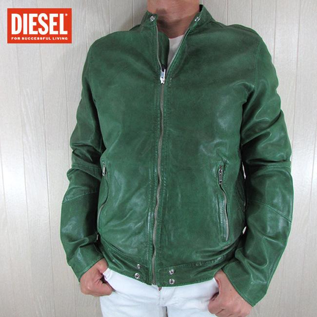 ディーゼル DIESEL ジャケット メンズ レザージャケット L-ALL-ROW / 57Z / グリーン サイズ:L