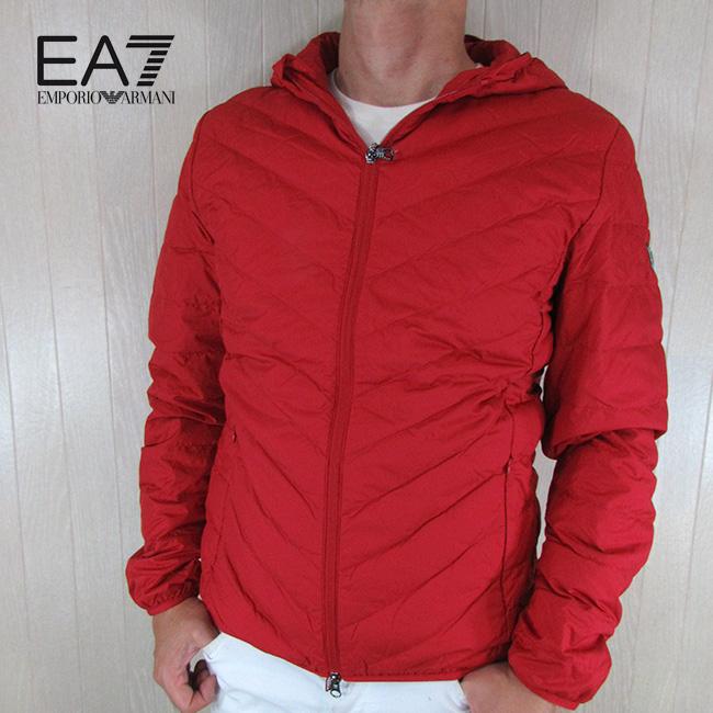エンポリオアルマーニ EA7 EMPORIO ARMANI メンズ ダウン ジャケット フーデッド フード 8NPB09 PNE1Z / 1450 / レッド 赤 サイズ:S~3XL