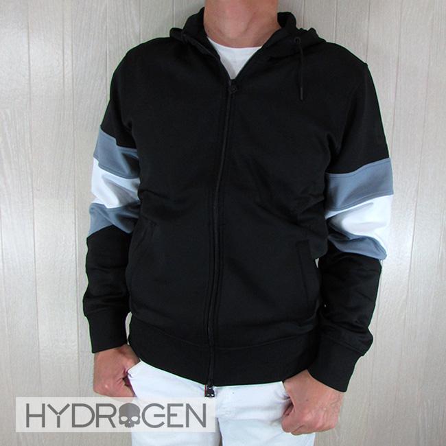ハイドロゲン HYDROGEN メンズ ジップパーカー ジャージー素材 250624 / 007 / ブラック 黒サイズ:S~L