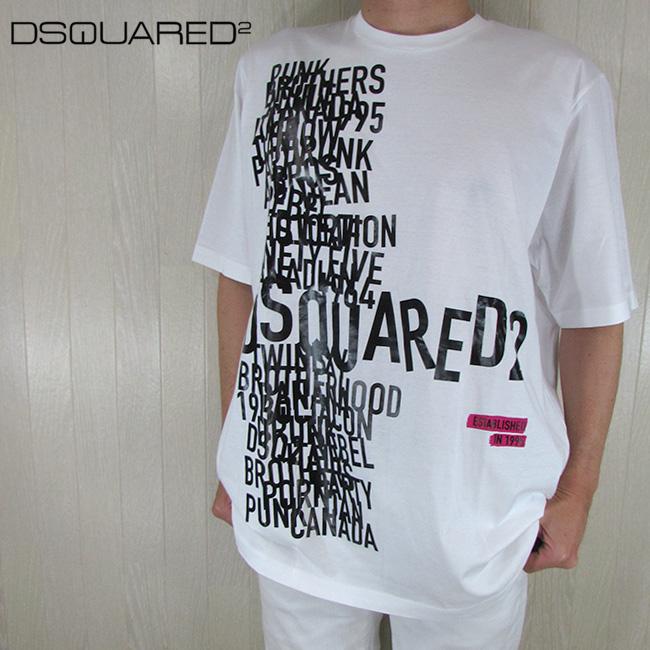 ディースクエアード DSQUARED2 メンズ 半袖 Tシャツ クルーネック 丸首 S74GD0529S22427 / 100 / ホワイト 白 サイズ:S/L