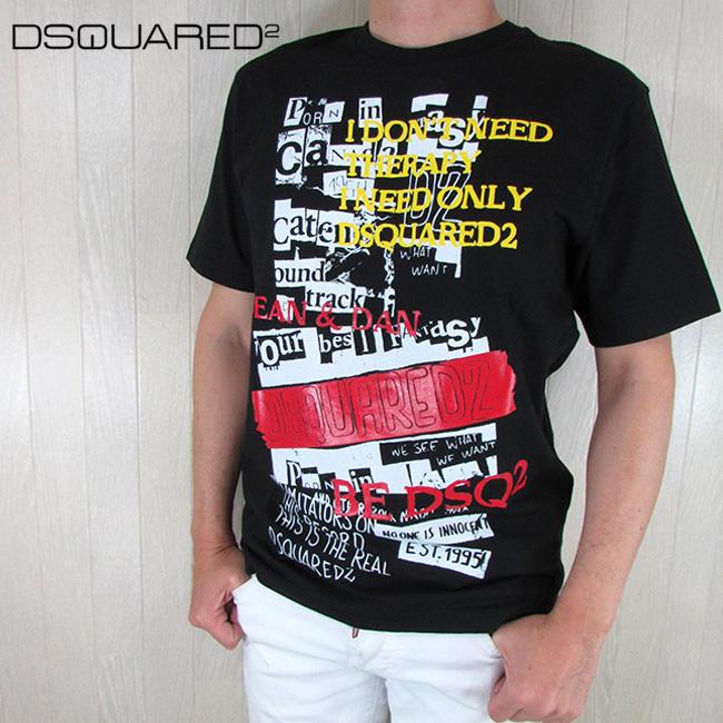 ディースクエアード DSQUARED2 メンズ 半袖 Tシャツ クルーネック 丸首 S74GD0537S20694 / 900 / ブラック 黒 サイズ:M/XL