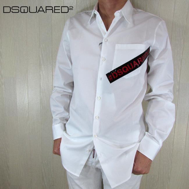 ディースクエアード DSQUARED2 メンズ シャツ カジュアルシャツ S74DM0231 / 100 / ホワイト 白 サイズ:46/48