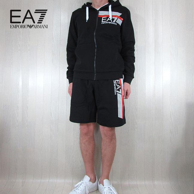 エンポリオアルマーニ EA7 EMPORIO ARMANI メンズ セットアップ スウェットショートパンツ 3HPM56 PJ07Z / 3HPS65 PJ07Z / 1200 / ブラック 黒 サイズ:S~3XL
