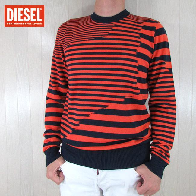 ディーゼル DIESEL メンズ ニット セーター 長袖ニット K-STAKX-NOPATCH PULLOVER / 8AT / ネイビー/オレンジ サイズ:S~XL