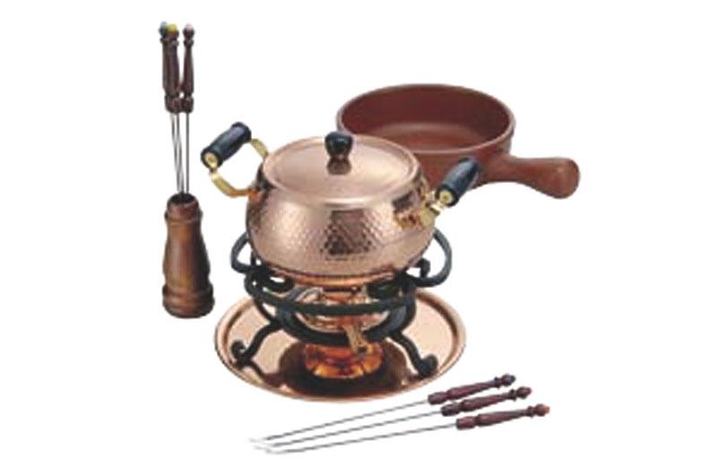 本格派 チーズ &オイル フォンデュ セット 陶器 鍋 + 銅 鍋 プロ仕様 業務用 可 日本製 国産