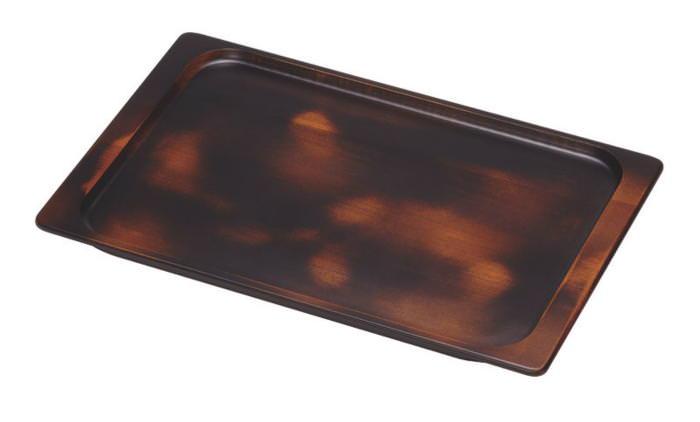 日本製 貴重な木材を使用した おぼん トレー ブラック 400×260mm