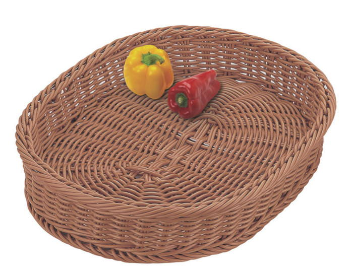 おしゃれ で かわいい 洗えて 衛生的 食品 & 小物 フード 小判型 バスケット ブラウン 食洗対応 600×450mm