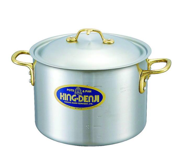 半 寸胴鍋 真鍮 合金 製 取っ手 45cm(45.5L) IH ・ オール熱源 対応 目盛付 日本製 国産
