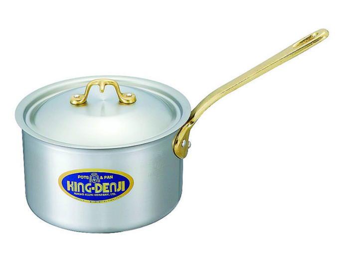[まとめ買い 限定クーポン付] 片手 鍋 真鍮 合金 製 取っ手 24cm(6.1L) IH ・ オール熱源 対応 目盛付 日本製 国産