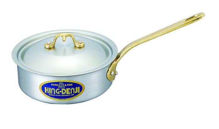 浅型 片手 鍋 真鍮 合金 製 取っ手 27cm(5.0L) IH ・ オール熱源 対応 目盛付 日本製 国産