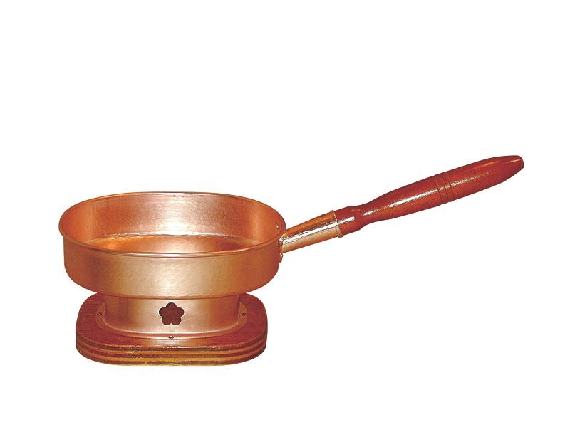 銅製 十能 ( じゅうのう ) 専用 台 付 熱くならない 木製柄 アウトドア キャンプ バーベキュー でも大活躍! プロ仕様 業務用 可 日本製