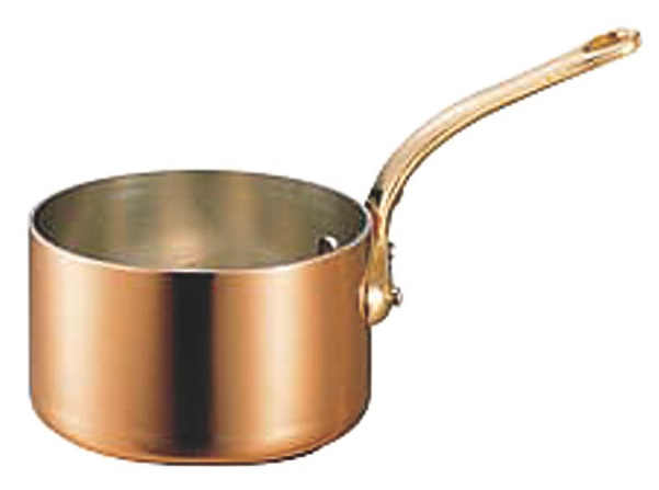 クーポンで23%OFF 極厚 銅鍋 深型 片手 鍋 ( 真鍮柄 ) 15cm ( 1.5L ) プロ仕様 業務用 可 日本製 国産