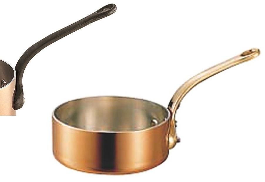 極厚 銅鍋 浅型 片手 鍋 ( 真鍮柄 ) 21cm ( 2.3L ) プロ仕様 業務用 可 日本製 国産