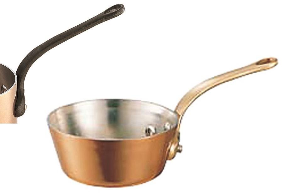 クーポンで23%OFF 極厚 銅鍋 テーパー 鍋 ( 真鍮柄 ) 15cm ( 0.7L ) プロ仕様 業務用 可 日本製 国産