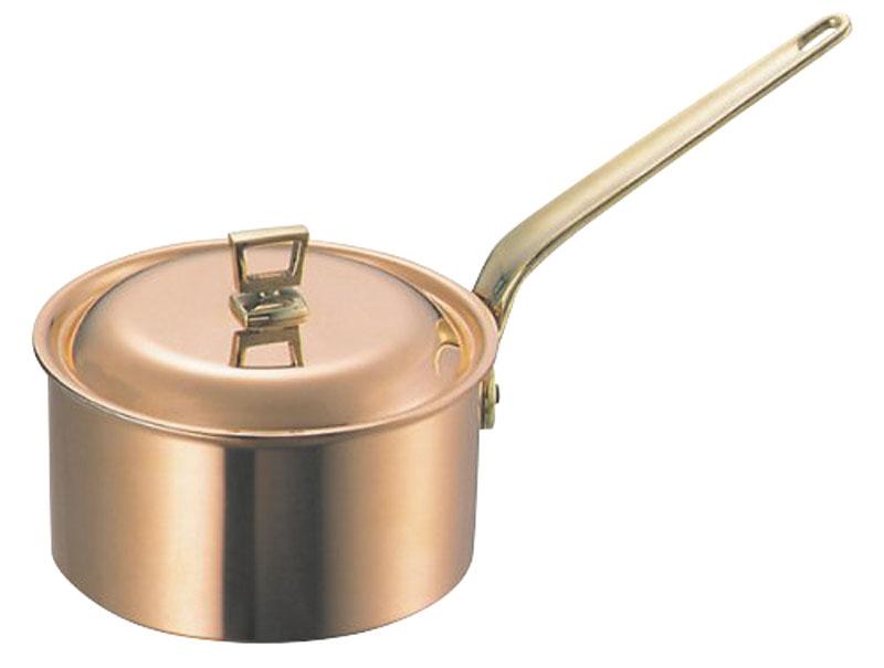 蓋 ( フタ ) 付 銅 片手 鍋 深型 18cm ( 2.7L )  スタンダードタイプ 業務用 可 日本製 国産