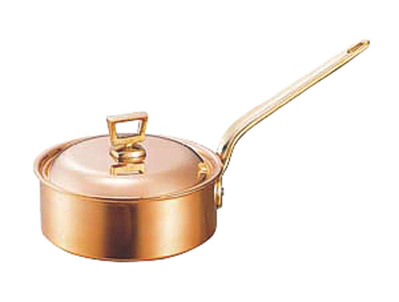 クーポンで23%OFF 蓋 ( フタ ) 付 銅 片手 鍋 浅型 18cm ( 1.7L )  スタンダードタイプ 業務用 可 日本製 国産