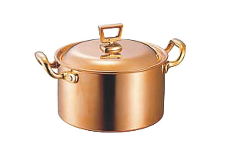 蓋 ( フタ ) 付 銅 両手 鍋 深型 21cm ( 4.0L ) スタンダードタイプ 業務用 可 日本製 国産