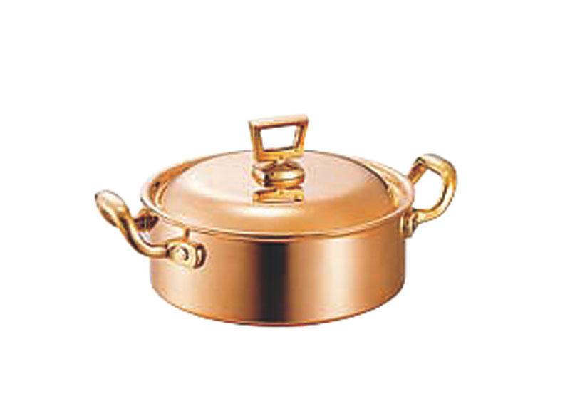 蓋 ( フタ ) 付 銅 両手 鍋 浅型 18cm ( 1.7L ) スタンダードタイプ 業務用 可 日本製 国産