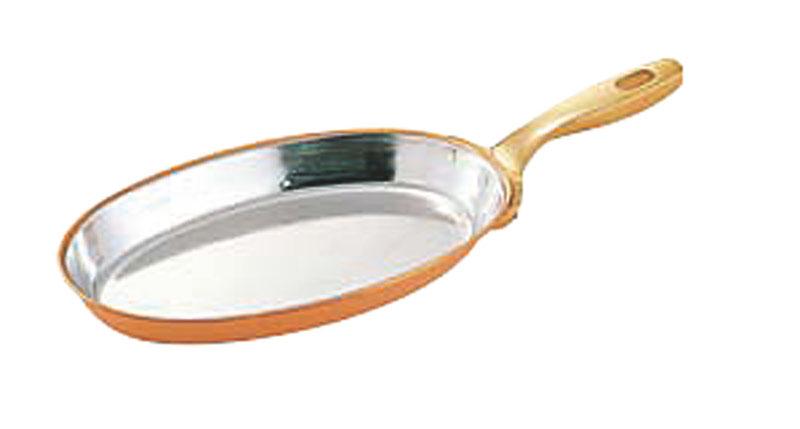 [まとめ買い 限定クーポン付] 銅 製 高熱伝導率 小判型 フライパン 36cm プロ仕様 業務用 可 日本製 国産