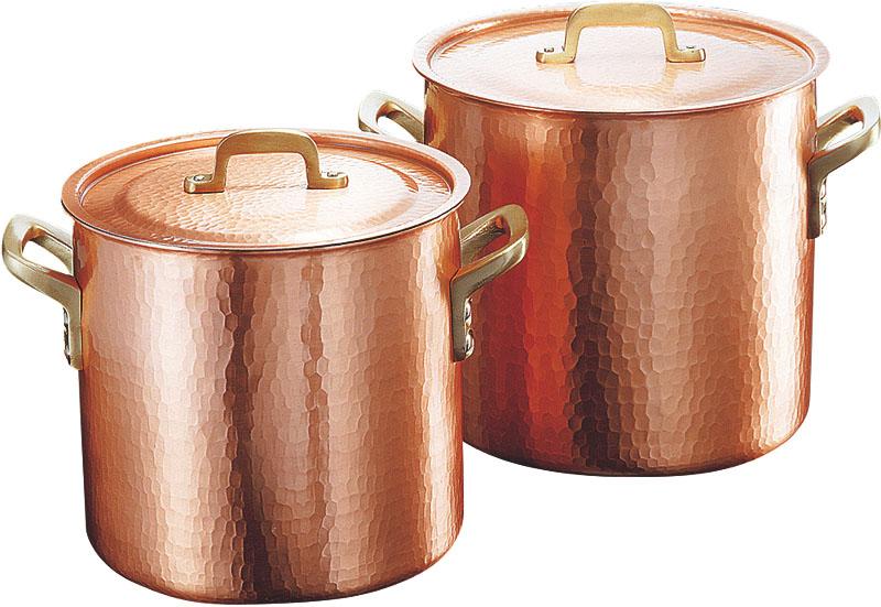 クーポンで23%OFF 日本製 職人の 手作り こだわりの 銅製 鎚目 深型 両手 鍋 22cm ( 8.3L ) 高 熱伝導率 業務用 可