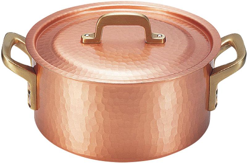 クーポンで23%OFF 日本製 職人の 手作り こだわりの 銅製 鎚目 両手 鍋 20cm ( 3.8L ) 高 熱伝導率 業務用 可