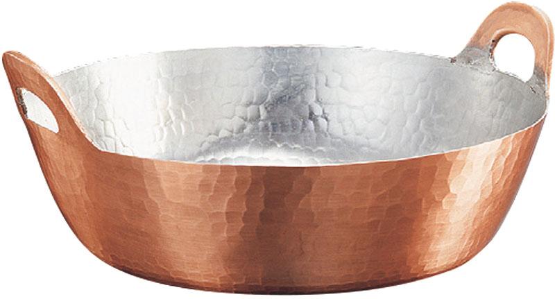 クーポンで23%OFF 日本製 職人の 手作り こだわりの 銅製 鎚目 天ぷら 鍋 27cm ( 3.8L ) 高 熱伝導率 業務用 可