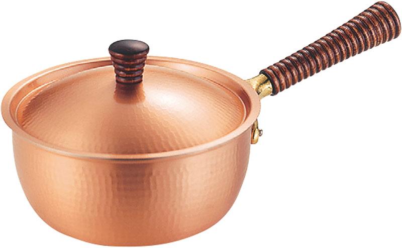 日本製 職人の 手作り おしゃれ で 使いやすい 鎚目 銅製 片手 鍋 15cm 高 熱伝導率 業務用 可